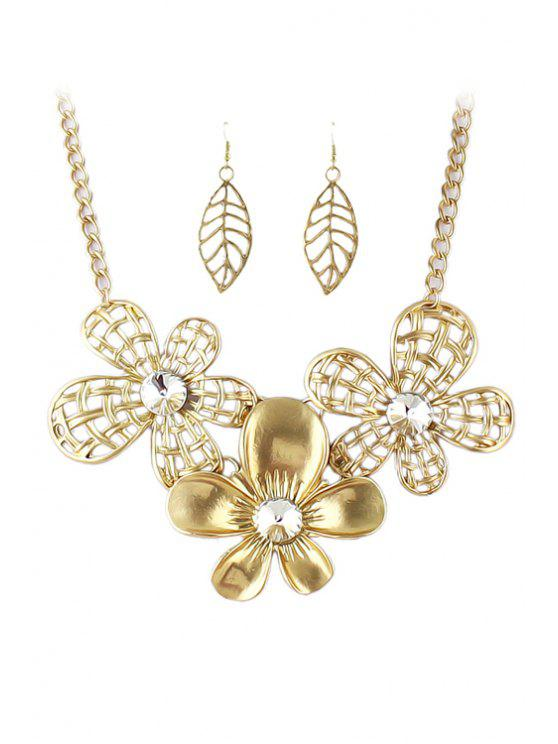 women Golden Flower Necklace and A Pair of Earrings - GOLDEN