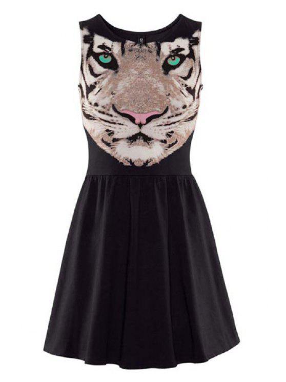 best Tiger Print Jewel Neck Sundress - BLACK S