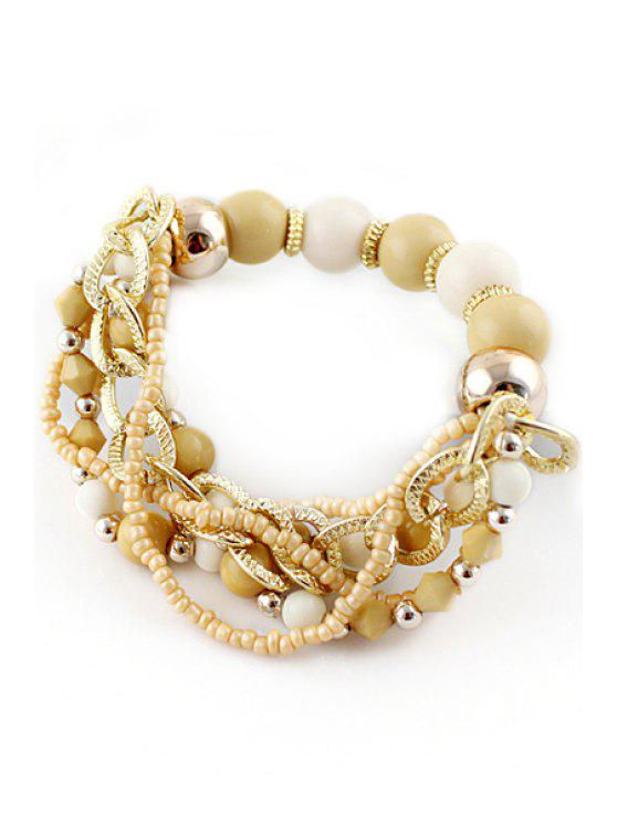 latest Beads Layered Bracelet - BEIGE