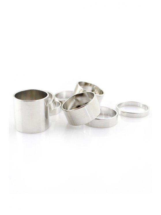 trendy 8PCS Solid Color Rings - SILVER ONE-SIZE