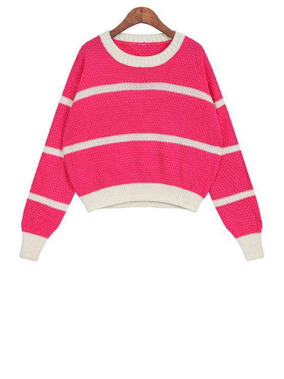 shops Scoop Collar Striped Sweater - PLUM ONE SIZE(FIT SIZE XS TO M)