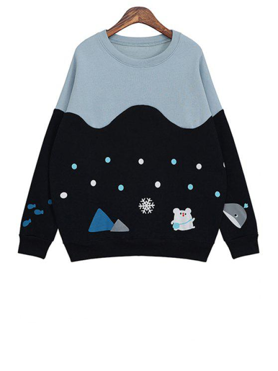 affordable Cartoon Print Color Block Sweatshirt - DEEP BLUE ONE SIZE(FIT SIZE XS TO M)