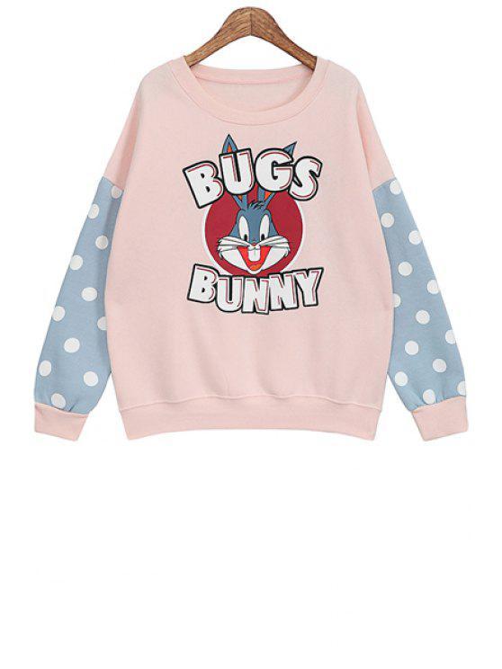 buy Polka Dot Cartoon Print Sweatshirt - PINK ONE SIZE(FIT SIZE XS TO M)