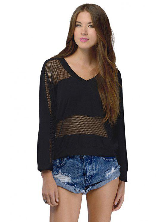 women Black Mesh Design Sweatshirt - BLACK 2XL