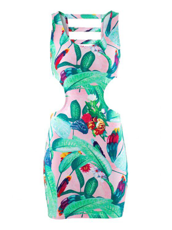 ladies Floral Print Sleeveless Hollow Dress - GREEN S
