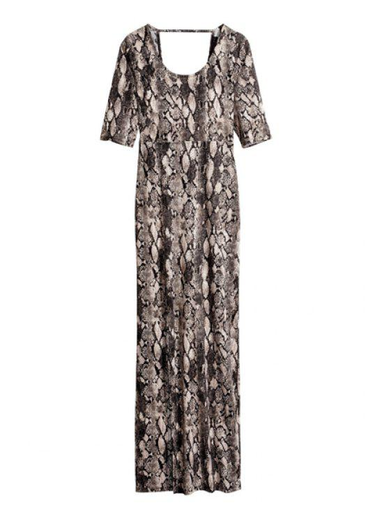 unique Snakeskin Pattern Half Sleeve Dress - BLACK AND GREY S