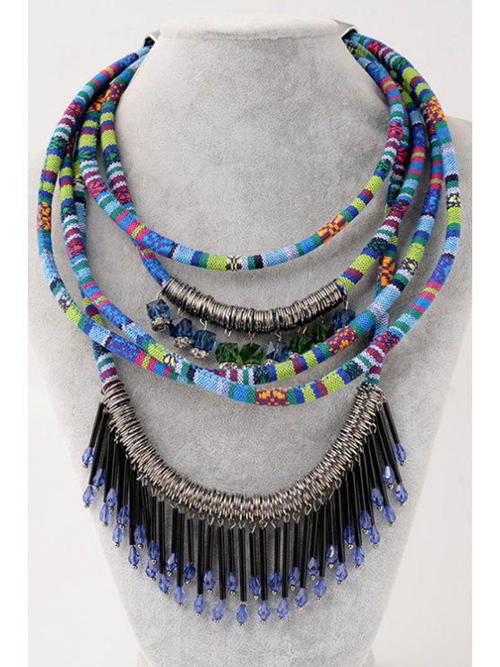 fashion Layered Tassel Decorated Necklace - BLUE
