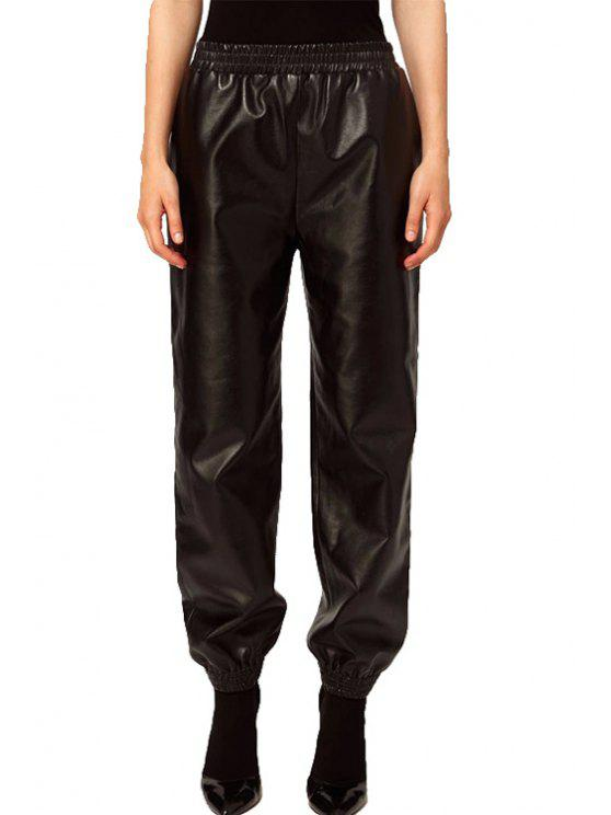 fancy PU Leather Elastic Waisted Pants - BLACK XS