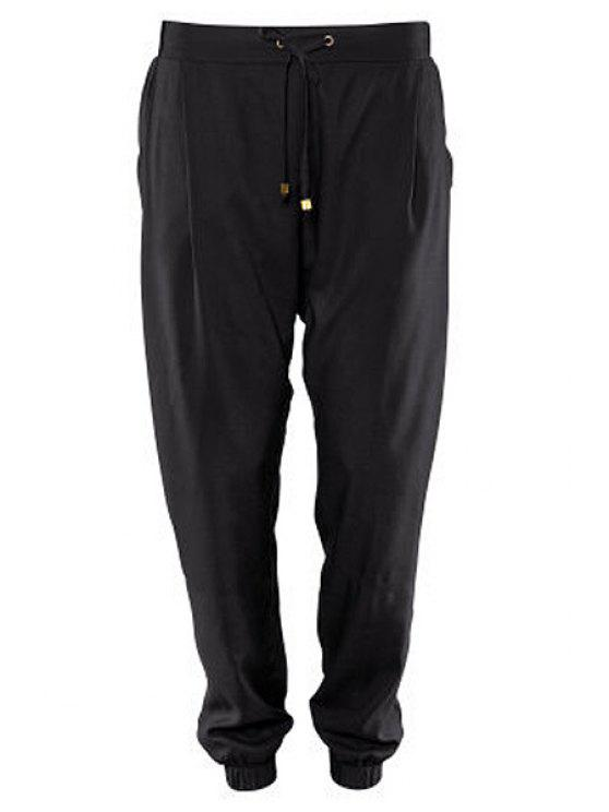 ladies Black Elastic Waisted Drawstring Pants - BLACK XS