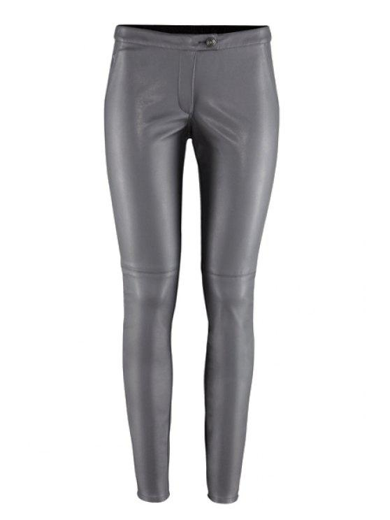 lady Solid Color PU Leather Narrow Feet Pants - GRAY 2XL