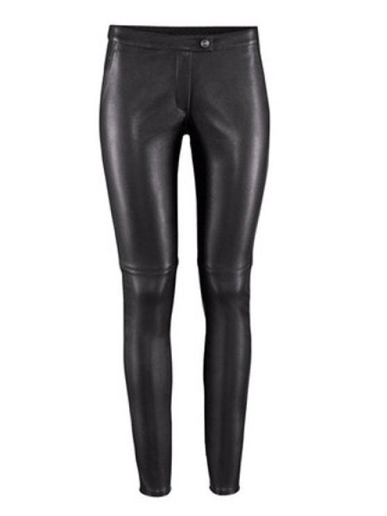 online Solid Color PU Leather Narrow Feet Pants - BLACK S