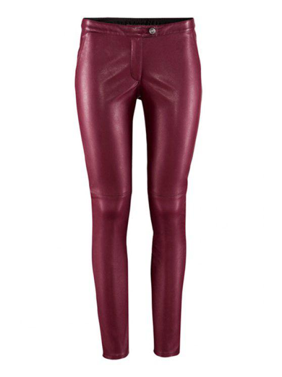 buy Solid Color PU Leather Narrow Feet Pants - WINE RED XL