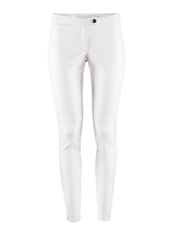 shops Solid Color PU Leather Narrow Feet Pants - WHITE S