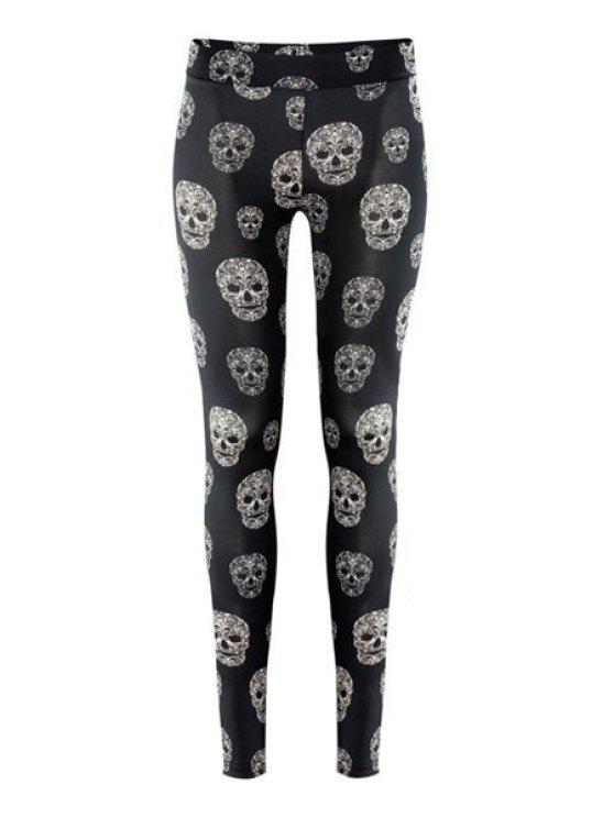 women's Skull Print Narrow Feet Leggings - BLACK XS