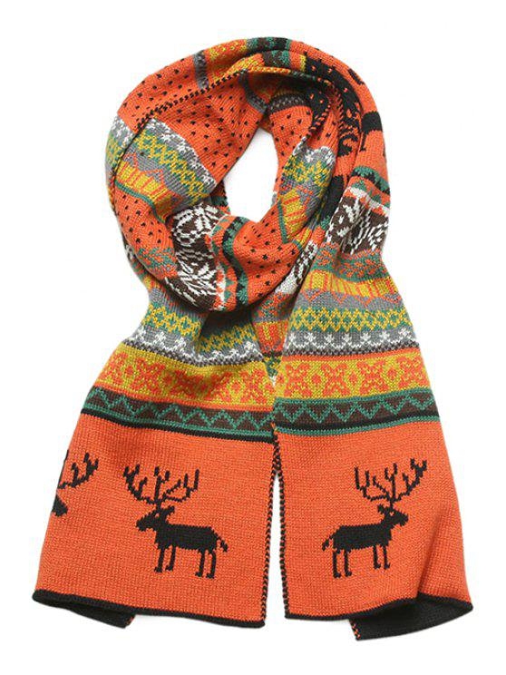 best Elk Jacquard Two-Sided Scarf - BLACK AND ORANGE