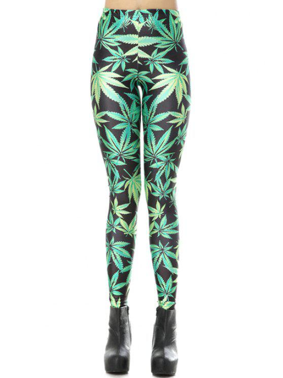 online Leaf Print Elastic Waisted Leggings - BLACK AND GREEN ONE SIZE(FIT SIZE XS TO M)