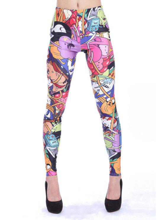 trendy Elastic Waisted Character Pattern Leggings - COLORMIX M