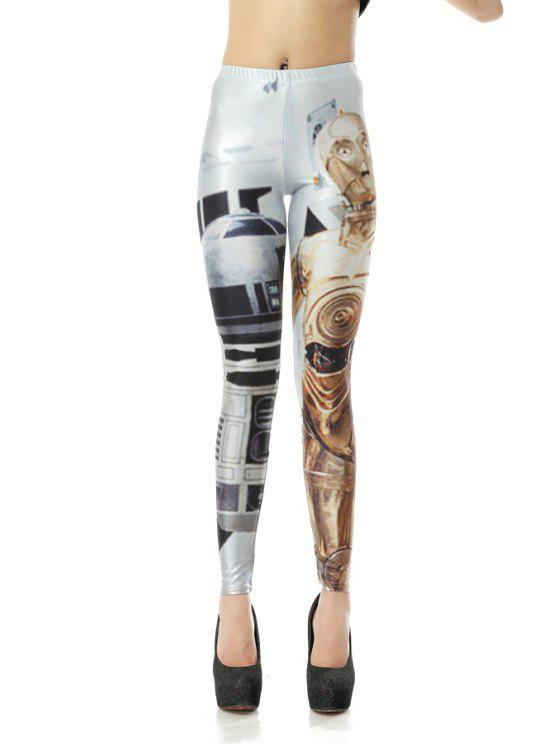 unique Robot Print Elastic Waisted Leggings - COLORMIX S