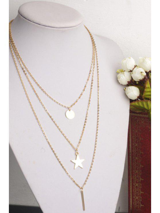 trendy Chic Golden Pendant Layered Women's Necklace - GOLDEN