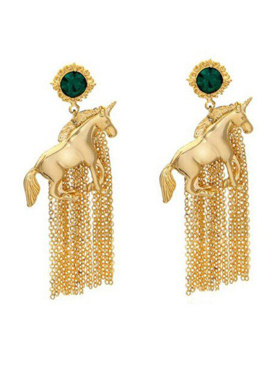 online Pair of Solid Color Tassel Earrings - GOLDEN