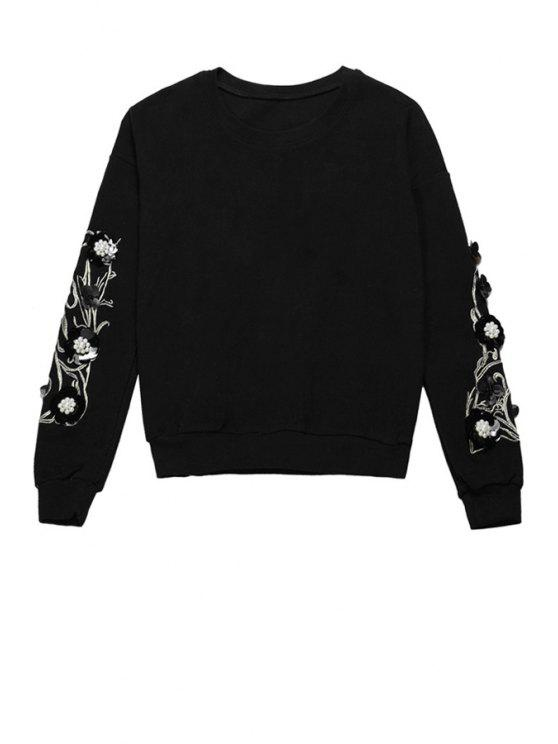 women's Floral Embroidery Beaded Sweatshirt - BLACK ONE SIZE(FIT SIZE XS TO M)