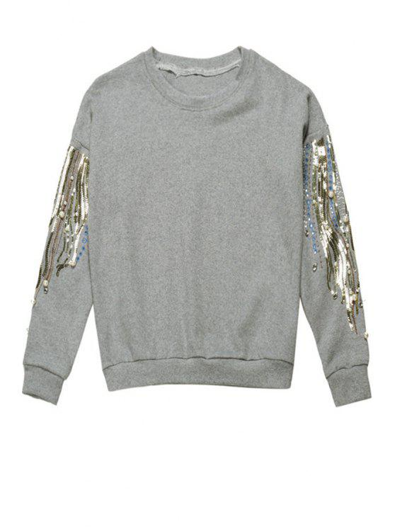 lady Sequins Beaded Long Sleeve Sweatshirt - GRAY ONE SIZE(FIT SIZE XS TO M)