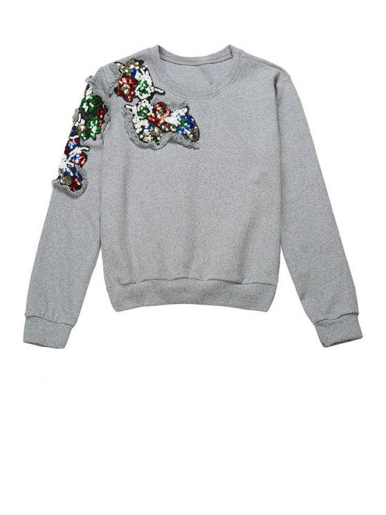 hot Sequins Embroidery Sweatshirt - GRAY ONE SIZE(FIT SIZE XS TO M)