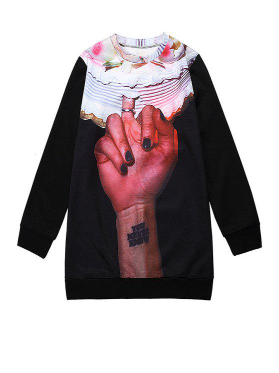 latest Hand Print Long Sleeve Sweatshirt - BLACK ONE SIZE(FIT SIZE XS TO M)