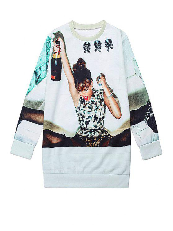 trendy Woman Print Round Collar Sweatshirt - WHITE ONE SIZE(FIT SIZE XS TO M)
