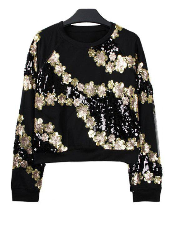 women's Sequins Floral Long Sleeve Sweatshirt - BLACK ONE SIZE(FIT SIZE XS TO M)