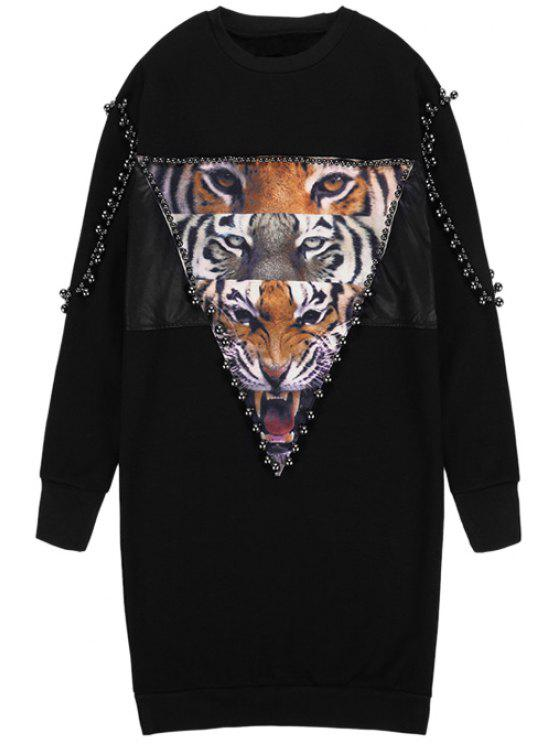 latest Tiger Print Long Sleeve Beaded Dress - BLACK ONE SIZE(FIT SIZE XS TO M)
