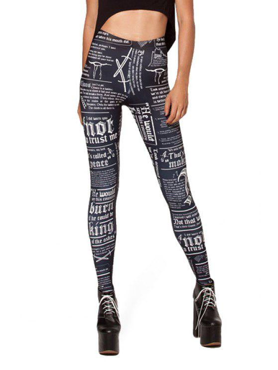 fashion Letter Print Narrow Feet Leggings - WHITE AND BLACK ONE SIZE(FIT SIZE XS TO M)