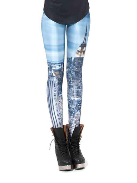 unique Building Print Narrow Feet Leggings - BLUE ONE SIZE(FIT SIZE XS TO M)
