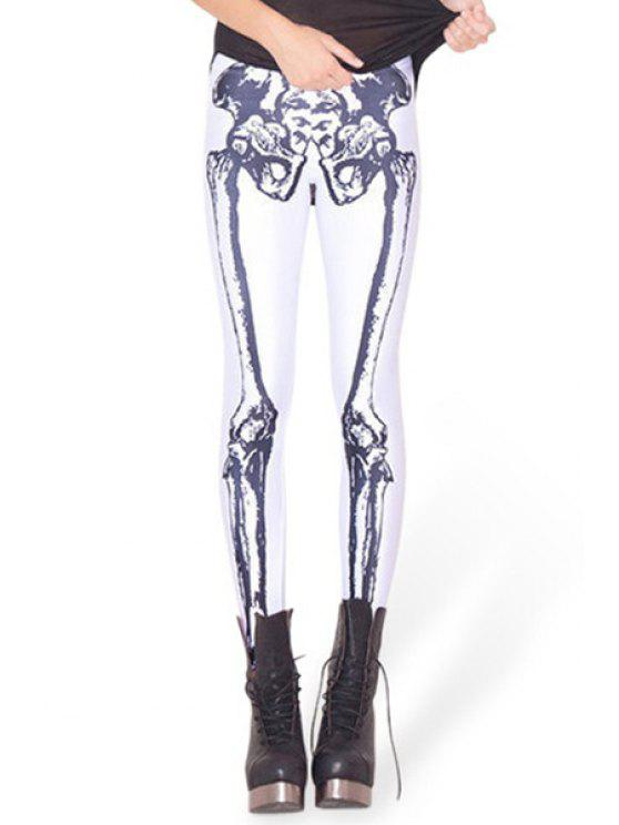 women's Skeleton Pattern Narrow Feet Leggings - WHITE ONE SIZE(FIT SIZE XS TO M)