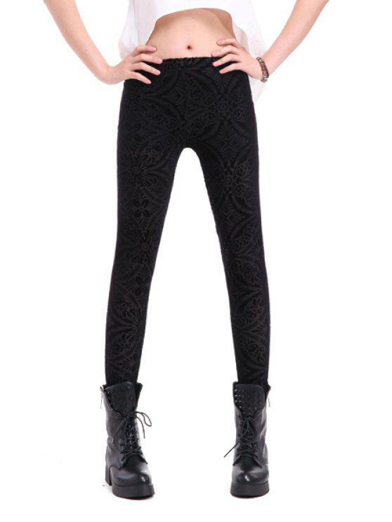 outfit Retro Pattern Narrow Feet Leggings - BLACK ONE SIZE(FIT SIZE XS TO M)