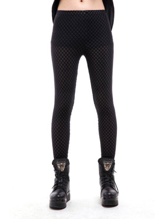fashion Argyle Pattern Narrow Feet Leggings - BLACK ONE SIZE(FIT SIZE XS TO M)