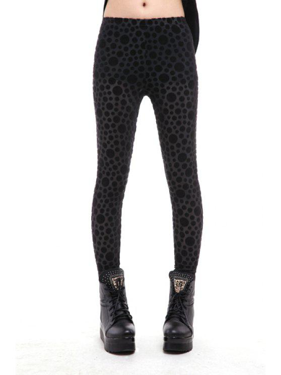 unique Polka Dot Pattern Narrow Feet Leggings - BLACK ONE SIZE(FIT SIZE XS TO M)