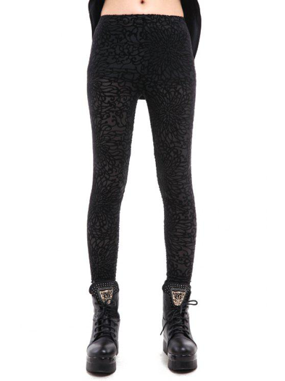 sale Floral Pattern Skinny Leggings - BLACK ONE SIZE(FIT SIZE XS TO M)