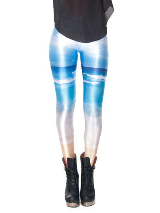 trendy Sea Print Narrow Feet Leggings - COLORMIX ONE SIZE(FIT SIZE XS TO M)