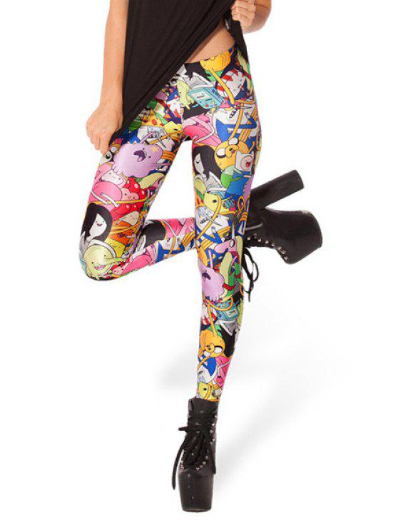 affordable Elastic Waist Cartoon Pattern Leggings - COLORMIX ONE SIZE(FIT SIZE XS TO M)