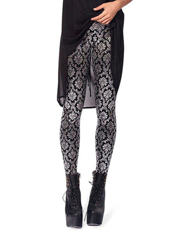 online Retro Floral Print Skinny Leggings - WHITE AND BLACK ONE SIZE(FIT SIZE XS TO M)