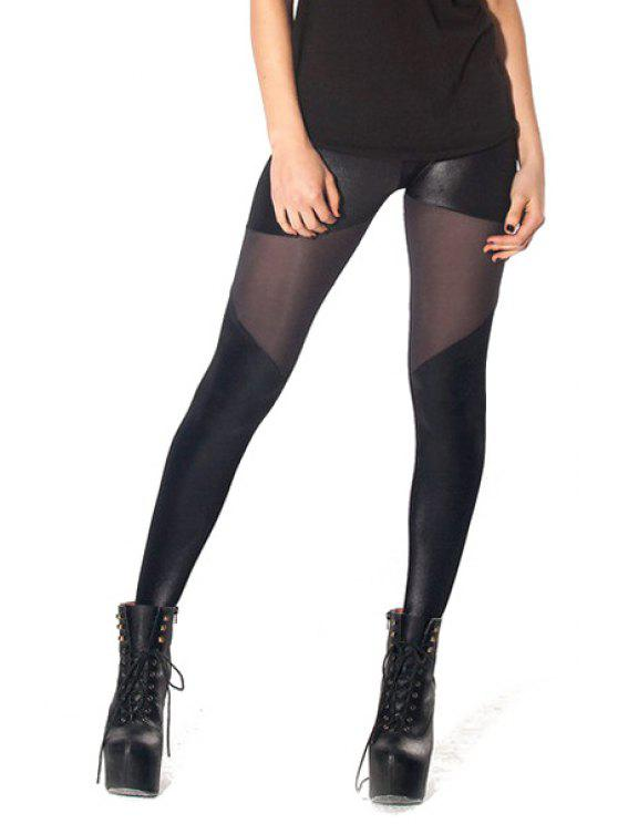 hot PU Leather Splicing Skinny Leggings - BLACK ONE SIZE(FIT SIZE XS TO M)