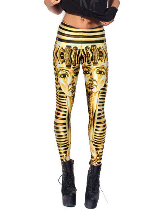 women Pharoah Print Skinny Leggings - YELLOW AND BLACK ONE SIZE(FIT SIZE XS TO M)
