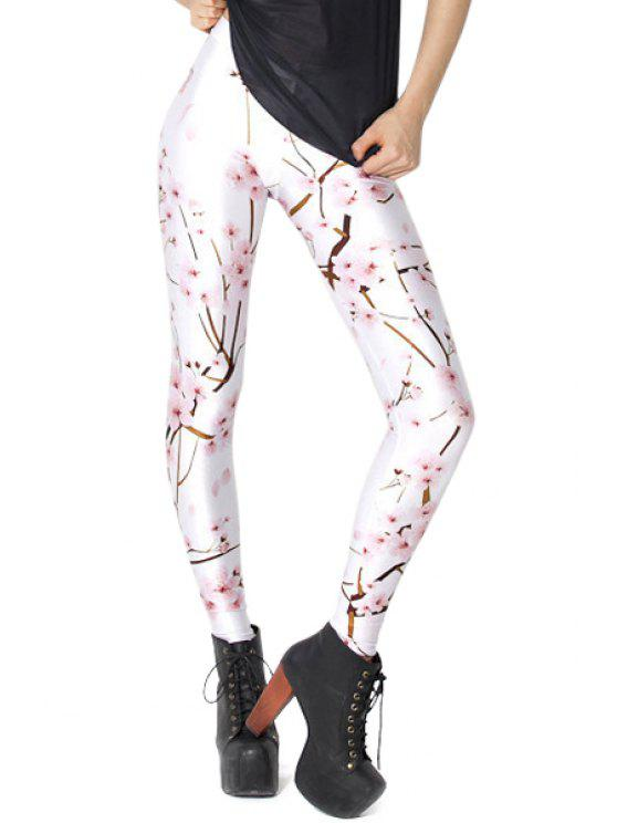 affordable Blossom Print Skinny Leggings - WHITE ONE SIZE(FIT SIZE XS TO M)