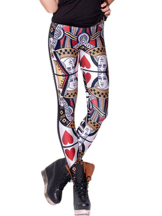 new Poker Print Skinny Leggings - COLORMIX ONE SIZE(FIT SIZE XS TO M)
