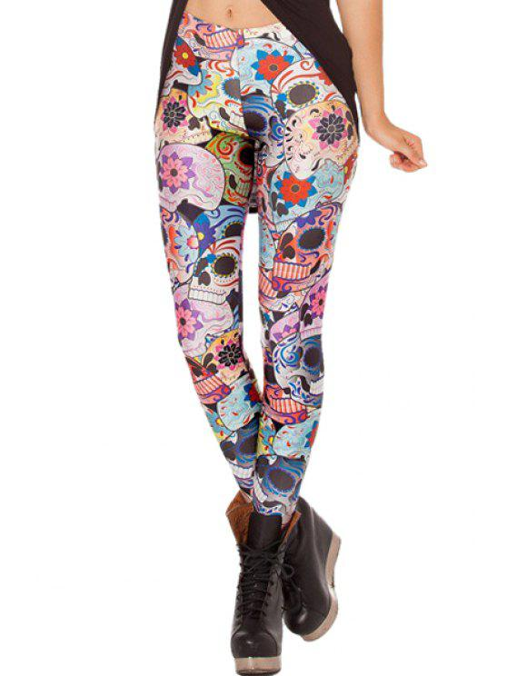 outfits Skull Print Skinny Leggings - COLORMIX ONE SIZE(FIT SIZE XS TO M)