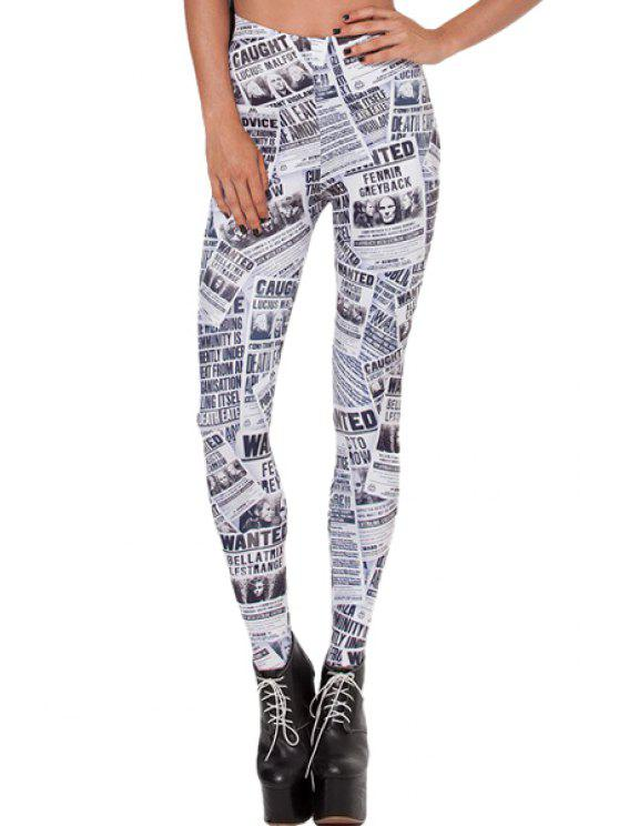 shop Full Letters Print Skinny Leggings - WHITE AND BLACK ONE SIZE(FIT SIZE XS TO M)