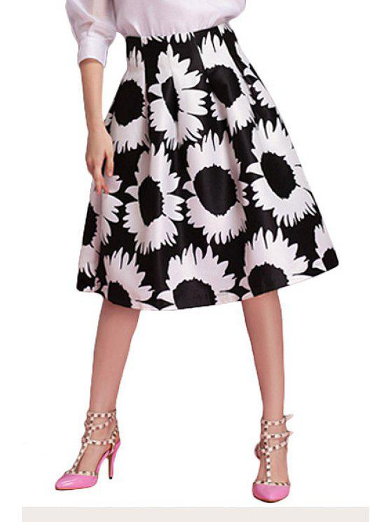 chic Floral Pattern A-Line Skirt - WHITE AND BLACK S