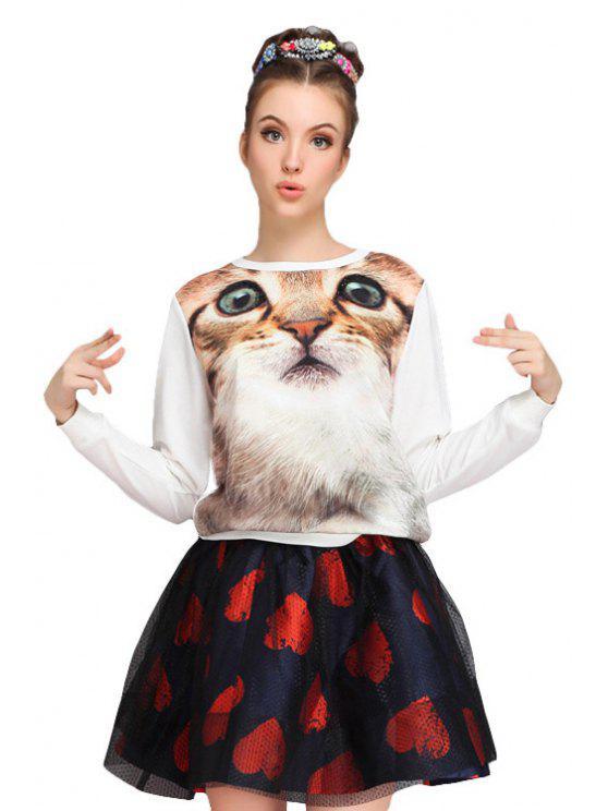 shop Kitten Pattern Round Collar Sweatshirt - WHITE S