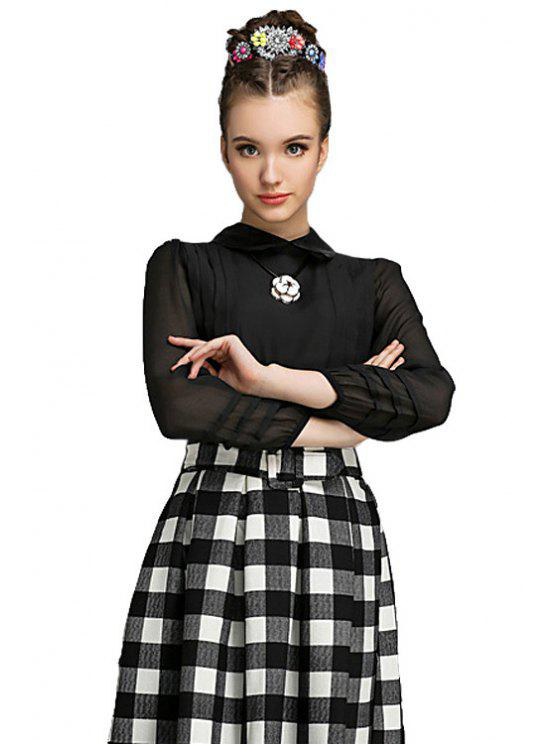 new Black Peter Pan Collar Chiffon Blouse - BLACK S
